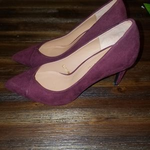 Zara trf burgundy suede heels